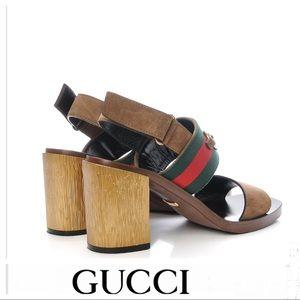 GUCCI Querelle Suede Web Marron Glace Sandals 38.5